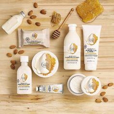 Meet The Body Shop Almond Milk & Honey collection for sensitive, dry skin. It's made with fair-trade almond oil and honey, and a hit of organic almond milk, and hypoallergenic fragrance; The Body Shop, Body Shop At Home, Body Shop Canada, Honey Cosmetics, Fm Cosmetics, Body Shop Skincare, Organic Almond Milk, Dry Skin Remedies, Honey Almonds