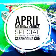April 🎂Birthday 🚢 Cruise Special stashcoins.com Cruise Specials, Personalized Items, Vacation, Birthday, Cards, Vacations, Birthdays, Holidays Music, Maps