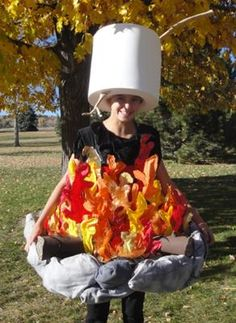 Campfire Costume with Marshmallow Roasting:   Whats a great ghost story without the glow of a wicked campfire? We spooked up our Halloween by making our 12 year old daughter into a walking ring