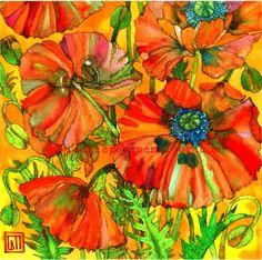 Poppies on Orange