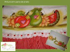 Pano de prato - pintado à mão - frutas - Além Brasil