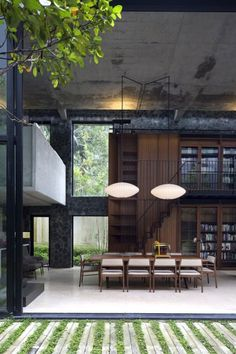 Private library house, Kuala Lumpur Unit One Design Architecture Design, Contemporary Architecture, Industrial Architecture, Contemporary Landscape, Kuala Lumpur, Casa Magnolia, Ceiling Texture Types, Home Design, Interior Design
