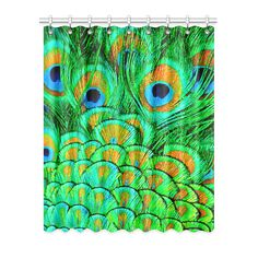 """Peacock Feathers Nature Art Window Curtain 52"""" x 63""""(One…"""