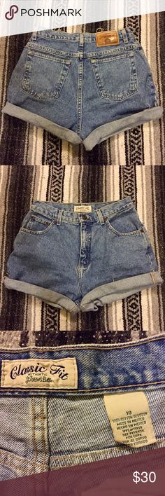 Vintage High Waisted Jean Shorts Stone washed vintage super high high waisted jean shorts! Size 10 but fits much like current brands such as American Eagle size 6 would fit! Compared these to a pair of American Eagle jeans and they matched up exact. Do not order if you are a true size 10, they are much smaller! (Size 6) St. John's Bay Shorts Jean Shorts