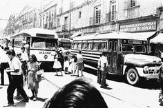 Centro historico de la Cd. de Mexico, distintos tipos de transporte, siglo pasado.