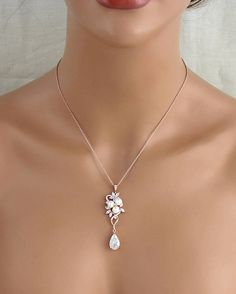 Rose Gold bridal necklace Crystal necklace Bridal jewelry