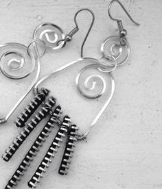 Avant Garde Square Silver Spirals Wire and Zipper Dangle Earrings- Urban Style Earrings    Wire: non tarnish soft tempered square silver craft wire 18