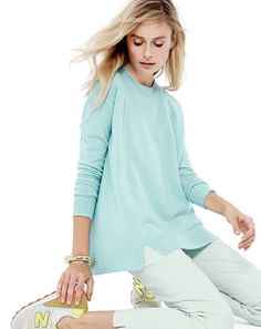 J.Crew Collection cashmere side panel sweater in heather aqua and Harlow pant in rustic mint.