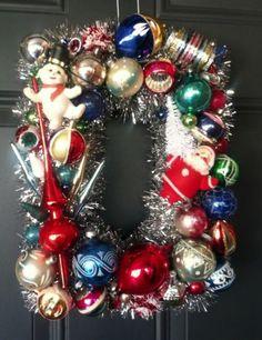 Vintage 11 X 14 Rectangle Wreath Flocked Santa Indent Mecury Glass Ornaments
