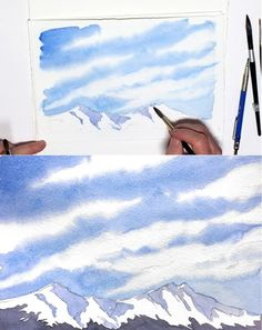 Watercolors are said to be the hardest art medium. sure, painting with watercolors is demanding and requires a lot of practice, but isn't that with all art Watercolor Beginner, Watercolor Art Lessons, Watercolor Paintings For Beginners, Watercolor Tips, Watercolour Tutorials, Watercolor Landscape, Watercolour Painting, Painting & Drawing, Watercolors