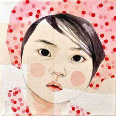 Set of 6 postcards Japanese Babies by StephanieLedouxArt on Etsy
