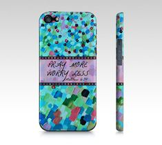 PRAY MORE Worry Less iPhone 4 4S 5 5S 5C Hard Case by EbiEmporium, $40.00 #pretty #turquoise #aqua #cerulean #blue #pink #art #fineart #painting #acrylic #splash #ocean #waves #colorful #pray #prayer #worry #Jesus #God #Christian #worship #scripture #Bible #religious #Christ #Lord #Grace #inspiration #motivation #wisdom #Truth #Biblical #typography #font #iPhone #case #tech #device #iPhone4 #iPhone5 #cover #accessories #Faith #stylish #gift