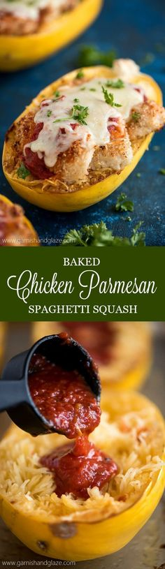 4 Points About Vintage And Standard Elizabethan Cooking Recipes! Make A Smart Swap And Cook Up Some Baked Chicken Parmesan Spaghetti Squash For A Healthier Dinner With The Same Great Taste And Crispy Texture. Paleo Dinner, Dinner Recipes, Dinner Ideas, Baked Chicken, Chicken Recipes, Freezer Chicken, Healthy Chicken, Chicken Panko, Chicken Parmesean