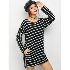 Long Sleeve Striped Side Slit Mini Dress