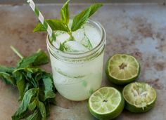 minty limeade:  makes 12-ounces of limeade mix – feel free to cut the below recipe in half if you don't want or don't think that you will use up 12-ounces of mix in 2 days  1 container (12-ounces) frozen lemonade concentrate  1/4 cup (2 limes) freshly squeezed lime juice 1/2 cup loosely packed mint leaves (approximately 20 leaves) sparkling water or club soda ice cubes
