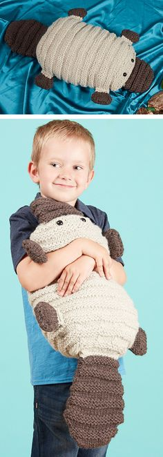 "Knitting Pattern for Patrick the Platypus - Finished Size 28"" long and 24"" circumference at widest point. #ad Click the pin image to get the pattern at Interweave. Also available on that site in Knit and Crochet Toys book."
