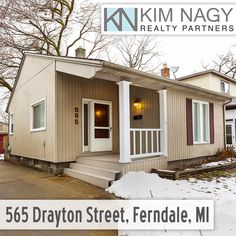 Just Listed | 565 Drayton Street, Ferndale, MI  Cozy cottage in NE Ferndale! Covered porch welcomes you in to a big living area and two bedrooms with brand new carpet throughout. Surprisingly spacious, bright and clean bathroom with charming woodwork features linen closet and extra storage. Efficient kitchen has convenient washer/dryer included. Lots of greenspace in fenced backyard with two car garage! Convenient to freeways and downtown Ferndale or Royal Oak. Quiet, low-tra