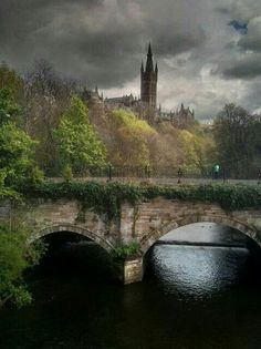 River Kelvin with Glasgow University in the background