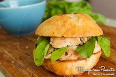 Receitas de Sandubas: Sanduíche de Frango com Rúcula. Para ver a receita, clique na imagem para ir ao Manga com Pimenta.