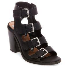 Women's dv Tessa Multiple Buckle Heeled Quarter Strap Sandals - Black 6.5