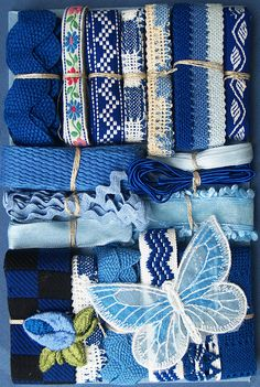Crazy Quilt Embellishment Assortment - Blue