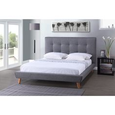 Baxton Studio Jonesy Scandinavian Style Mid-century Grey Fabric Upholstered King-size Platform Bed