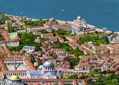 Roman/Byzantine architecture illustrations, portraits and Scenes, by Antoine Helbert Architecture Byzantine, Architecture Antique, Ancient Greek Architecture, Historical Architecture, Roman Architecture, Constantinople Map, Monuments, Roman City, Medieval World
