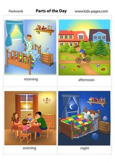 Parts Of The Day flashcard English Teaching Materials, Learning English For Kids, English Lessons For Kids, Kids English, English Language Learning, Teaching English, English Activities, Preschool Learning Activities, Kindergarten Worksheets