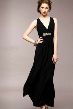 Bohemian Style Fashion V Neck Sleeveless Pleated Black Silk Dress $11.49
