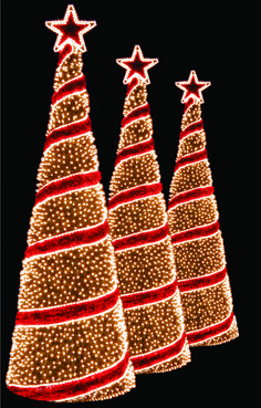 Light up Christmas trees, Spiral trees, holiday outdoor lighting for homes and commercial properties, LED Christmas Lights