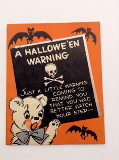 1940 Vintage Halloween greeting card