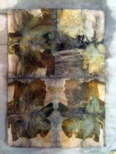 Sample of print from eucalyptus leaves by India Flint, an artist who specializes in using plant derived dyes & printing.