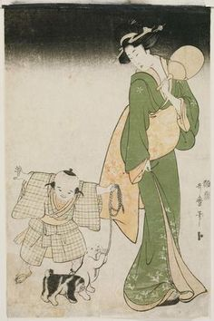 Kitagawa Utamaro: Mother and Child with Two Puppies on a Summer Night - Museum of Fine Arts