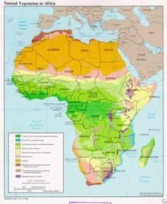 Physical Map of Africa (deserts, plateaus, rivers, etc.) | Africa