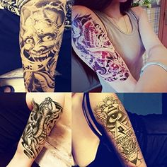 MyFav 8 Sheets Fashion Body Stickers Arm Shoulder Make Up For Man Women Temporary Tattoo - Buddha, Elephant, Eagle eye, Fish, Beauty and the Beast Etc. Size: 5 * 7.5 inch. To remove: Dab tattoo with rubbing alcohol or baby oil. Wait for 10 seconds, then rub gently and repeatedly with more rubbing alcohol or baby oil until removed. Meet rigid safety and non-toxic materials standard. Stick The Design Side Down On Your Desired area (Waist, Shoulder, Arm, Back, Bust, Leg ). Package includes 8...