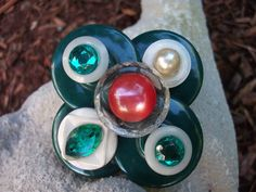 Chunky green, red and white vintage button assemblage pin with great vintage style! by mscenna