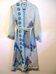 11951d6c27 Vintage ALFRED SHAHEEN 1960 s Floral Print Blue Maxi Dress Size 8 Tunic Mid  Century Mod Dress
