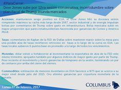 Columbus (@ColumbusDM) | Twitter | #ParaCerrar #Noticias #Columbus Dow Jones sube por 12va sesión consecutiva; incertidumbre sobre plan fiscal de Trump inunda mercados.