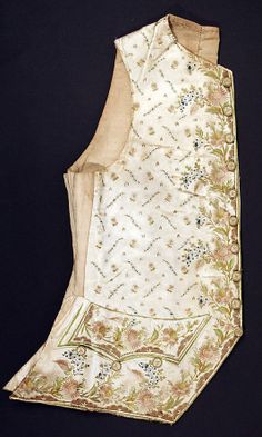 Waistcoat  Date:     ca. 1770 Culture:     probably French Medium:     silk, linen Dimensions:     Length at CB: 22 1/2 in. (57.2 cm) Credit... Accession Number: 1979.129.7