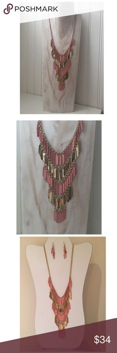 Boho Pink & Gold Bib Necklace & Earring Set Boho salmon pink & shiny gold tone necklace & matching earrings. More description to follow shortly.... Jewelry Necklaces
