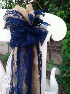 Hey, I found this really awesome Etsy listing at http://www.etsy.com/listing/163641718/shabby-chairsashnavy-lace-and-burlappair