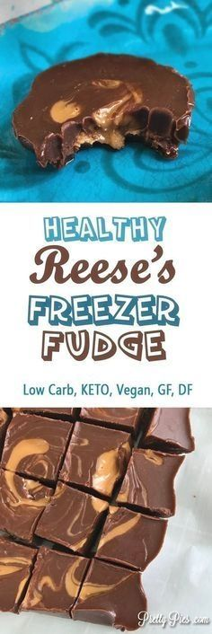 Healthy Reese's Freezer Fudge (Keto, Vegan) PrettyPies.com #ketogenicdietvegetarian