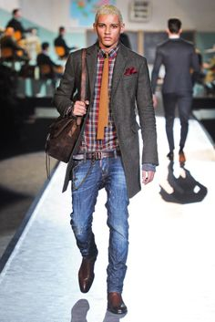 Clothes real men wear, and by real, I mean a creative twenty-something like me. Plaids and denim. The jacket's tad long but at least the shoes are sleek. Dsquared fall 2012.