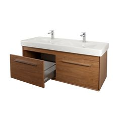 Buy Signature Simple Dual Vanity Unit with Basin - Walnut today. Signature Part No: Free UK delivery in approx 5 working days. Basin Vanity Unit, Basin Unit, Bathroom Vanity Units, Pull Out Drawers, Austin Homes, Sink, The Unit, Storage, Simple
