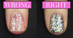 Glitter nail polish can be a real pain in the, y'know, to put on. But YouTube nail artist Kelli Marissa shared a brilliant way to apply it evenly in one take.