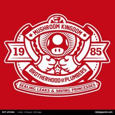 Brotherhood of Plumbers T-Shirt - $10 Super Mario Bros tee at RIPT today only! If you missed it at RIPT click here to see if there are any other options.