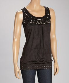 Look what I found on #zulily! Black Embellished Sleeveless Top by Lulu #zulilyfinds