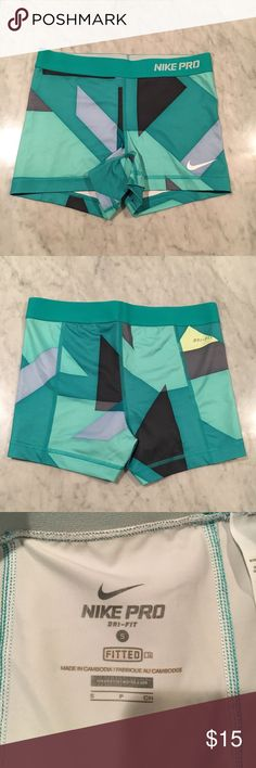 Nike Spandex Workout Shorts Size Small Nike Pro Spandex Workout Shorts Size Small. Turquoise Green, Gray and Dark Gray Patterned Dri-Fit material Nike Shorts
