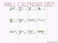 2021 Calendar, Watercolour Calendar 2021, Botanical Wall Calendar Printable
