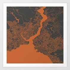 Istanbul Map Art Print by Map Map Maps - $18.00---------------------------If you like my work, you can folllow my Facebook account : https://www.facebook.com/MapMapMaps